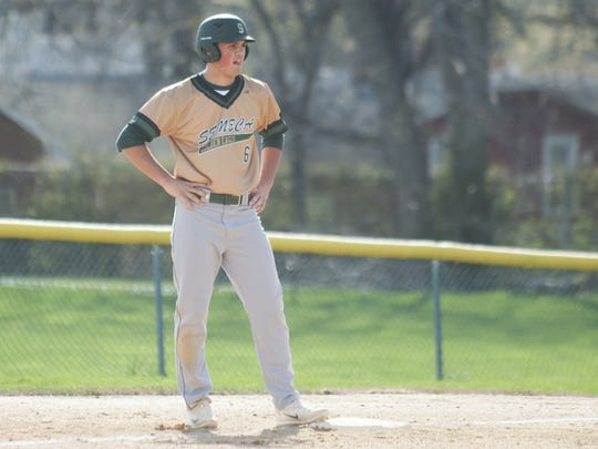 Kevin Gsell of Seneca stands on third after hitting a triple in the third inning of Tuesday's game against Camden Catholic.