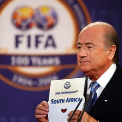 FIFA President Sepp Blatter announcing that South Africa would be hosting the 2010 FIFA World Cup during an official ceremony in Zurich, Switzerland, on May 15, 2004. Blatter is due to step down from the role.