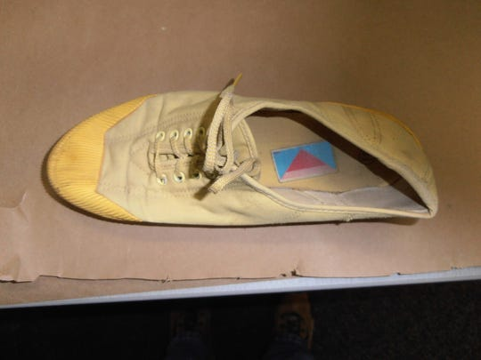 An evidence photo of a tennis shoe found after a woman was found shot to death on July 17, 1982, just a few miles from Incline Village. The woman was identified 33 years later through DNA evidence as Mary Silvani. Investigators believe she may have been en route to or from Lake Tahoe when she was killed.