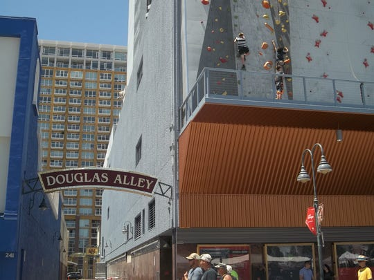 """Douglas Alley in downtown Reno was once three blocks longs and housed a bevy of nightclubs and other drinking establishments. During Prohibition, many establishments in this """"wet alley"""" were raided by federal agents."""