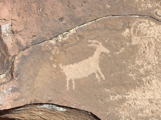 Mountain goat petroglyph at Little Black Mountain Petroglyph Site, Ariz., is shown Nov. 5.