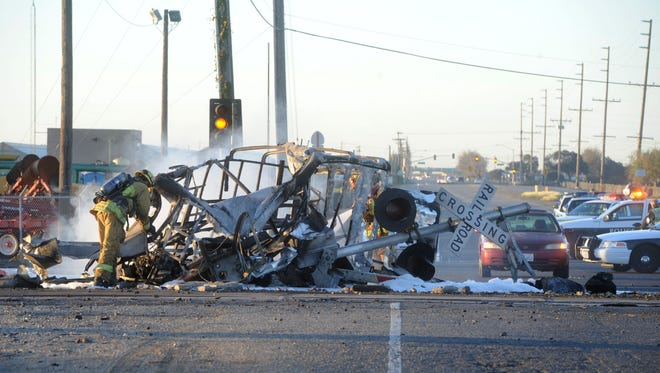 The aftermath of a 2015 deadly train vs. car crash in Oxnard near South Rice Avenue and East Fifth Street is shown. A state agency has approved $68.6 million in funding for a long-planned bridge that officials say would have preventedthe crash.