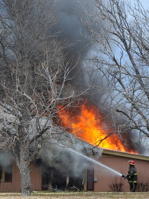 Area volunteer firefighters battled a house fire on West Arrowhead Drive at Lake Arrowhead in Clay County Monday morning.  The cause of the blaze that gutted the home was not immediately known.
