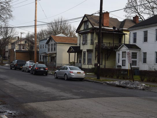 The scene of the stabbing on Mansion Street in the