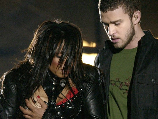Entertainer Janet Jackson, left, during the half time