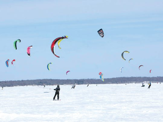 Snowkite racers competing on Lake Mille Lacs. The 2018