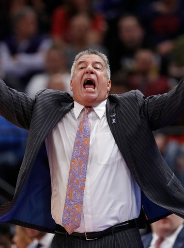 Auburn coach Bruce Pearl shouts during the team's second-round game against Kansas in the NCAA men's college basketball tournament Saturday, March 23, 2019, in Salt Lake City. (AP Photo/Jeff Swinger)