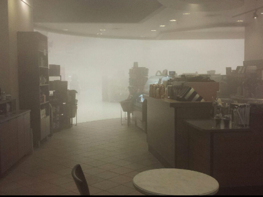 Smoke inside the Starbucks inside of the Target store on Mills Civic Parkway. The store suffered a minor fire on Thursday, Nov. 26.