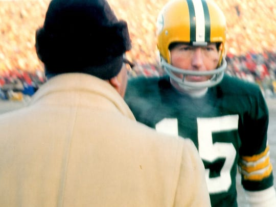 Green Bay Packers coach Vince Lombardi and quarterback