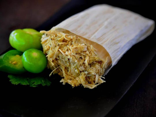 The green chile chicken tamale from The Tamale Store.