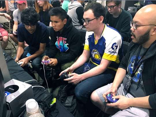 "Gamers compete in a ""Super Smash Bros. Melee"" tourney at the Shine eSports fest."