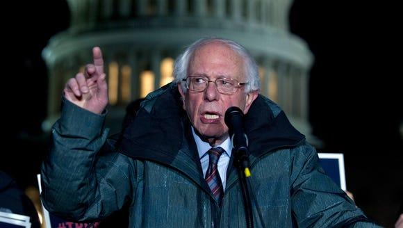 Sen. Bernie Sanders, I-Vt., speaks during a rally in