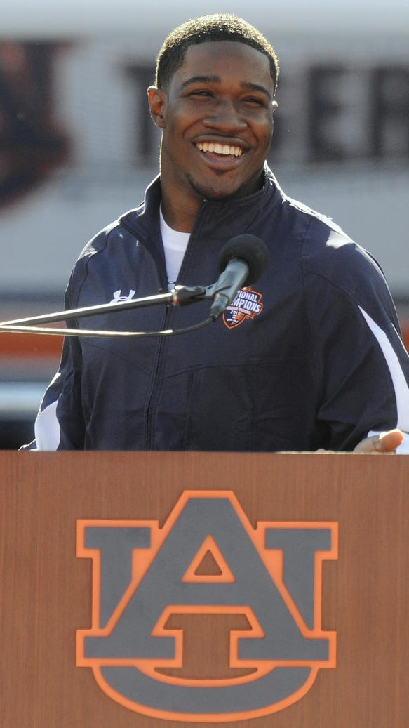 Former Auburn wide receiver Kodi Burns speaks during