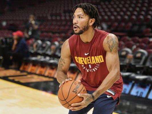 32b63c29aab6 NBA  Preseason-Chicago Bulls at Cleveland Cavaliers. Cleveland Cavaliers  guard Derrick Rose ...