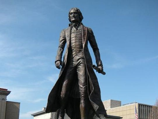 A statue of Thomas Jefferson, the nation's third president,