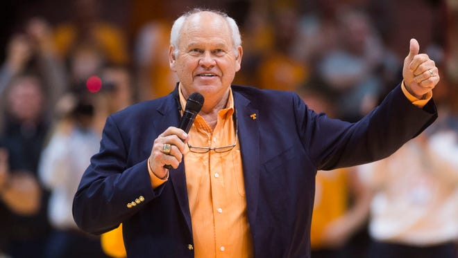 Tennessee athletic director Phillip Fulmer introduces Tennessee football head coach Jeremy Pruitt during a game against Lipscomb at Thompson-Boling Arena in Knoxville, Tenn. Saturday, Dec. 9, 2017.