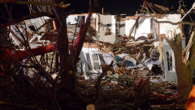 A tornado struck the small town of Fairdale Ill. the night of Thursday, April 9, 2015. Authorities reported one person was killed.