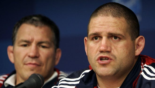 Rulon Gardner gives a talk at the Elsinore Theater on June 14.