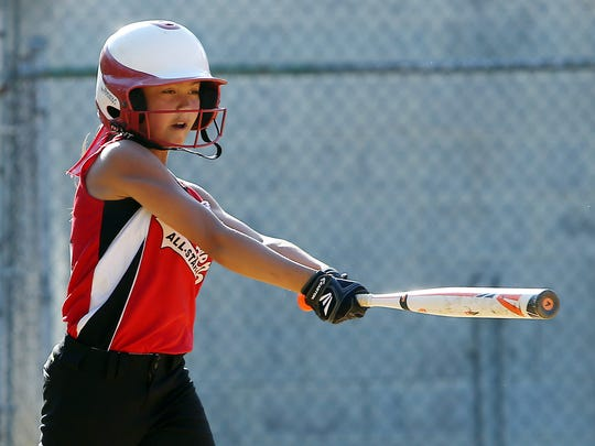 Hanover's Brynn Yacat hits a two-run double vs. Morristown-National vs.  in the District 1 finals. June 29, 2016, Parsippany, NJ