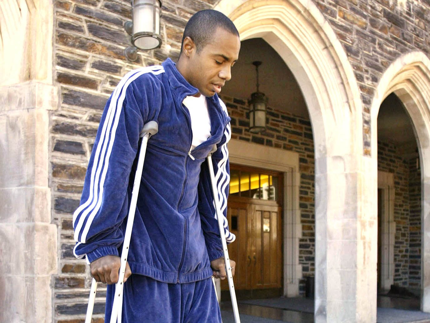 Jay Williams, Chicago Bulls basketball player and former Duke All-American, arrives at Duke's Cameron Indoor Stadium, Monday, Sept. 29, 2003, in Durham, N.C., for an interview. Williams was hurt earlier this year in a motorcycle accident.