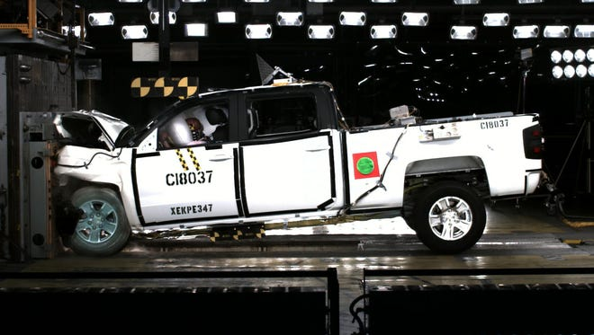 Crash test photo from NHTSA's testing of the new GM pickups, the first pickup trucks to get the top overall score in the revised testing. NHTSA crash testing will be halted till the shutdown ends..