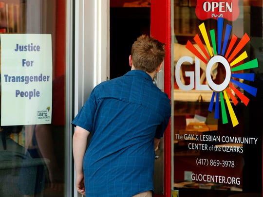 An unidentified person enters the GLO Center in Springfield in this 2017 News-Leader file photo. The GLO Center is collecting items to give homeless LGBTQ+ youth who participate in the annual High Risk and Homeless Youth survey on Jan. 30.