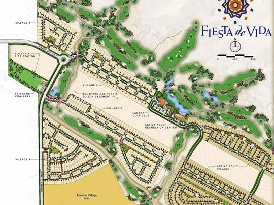A site plan for Fiesta de Vida, which was proposed for North Indio in the early 2000s and included a 27-hole golf course.