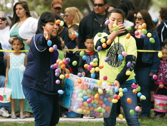 Volunteers tossed more than 20,000 plastic eggs on Saturday for the sixth annual Community Easter Egg Hunt at Luna County Courthouse Park. The event drew over 1,000 people for a fun morning of prizes, food, music and games. See more photos of the event on Page A5.