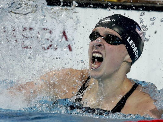 United States' Katie Ledecky celebrates after winning the women's 800-meter freestyle final at the Swimming World Championships in Kazan, Russia on Saturday. Ledecky won five gold medals at the meet.