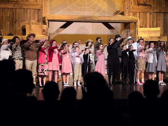 """Student actors of Sacred Heart of Jesus High School and St. Mary's School receive a standing ovation as they farewell audience members Thursday, Feb. 8, 2018, at the conclusion of a sensory-friendly production of """"Charlotte's Web"""" at the Ned R. McWherter Cultural Arts auditorium in Jackson."""