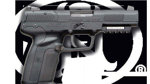 A 5.7x28 millimeter semiautomatic pistol manufactured by FNH — known as a FN Five-seven