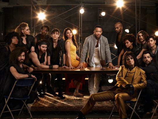 Starring in NBC's 'Jesus Christ Superstar Live in Concert,' left to right, Sara Bareilles as Mary Magdalene, John Legend as Jesus Christ, Brandon Victor Dixon as Judas Iscariot, Jason Tam as Peter, front: Alice Cooper as King Herod, with ensemble cast.
