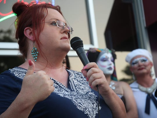 Transgender rights activist Thomi Clinton speaks at