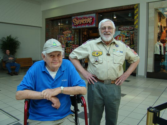 Bill Earney (left) with Rodney Todd, Central District commissioner with the Boy Scouts of America.