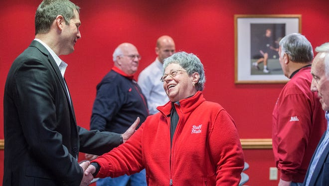 Ball State football coach Mike Neu greets attendees during Ball State's National Signing Day event Wednesday.