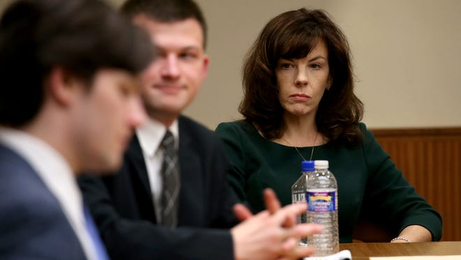 Laura Rideout during opening statements in the Craig Rideout murder case.