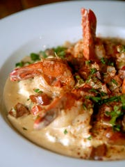 Shrimp and grits with Andouille sausage made by Chef Jeremy McFarland at Bourbons Bistro. Sept. 29, 2016