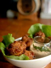 Corn and crab fritters with remoulade sauce made by