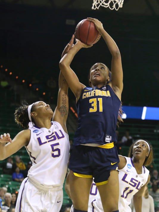 California forward Kristine Anigwe (31) is fouled by LSU forward Ayana Mitchell (5) as LSU guard Raigyne Moncrief (11) looks on in the second half of a first-round game in the women's NCAA college basketball tournament, Saturday, March, 18, 2017, in Waco, Texas. (AP Photo/Jerry Larson)