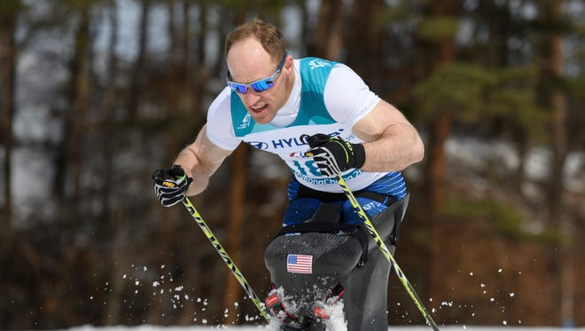 Dan Cnossen competes during the men's sitting 7.5K cross-country race at the Alpensia Biathlon Centre in the Paralympic Winter Games on March 17. He won six medals in Pyeongchang.
