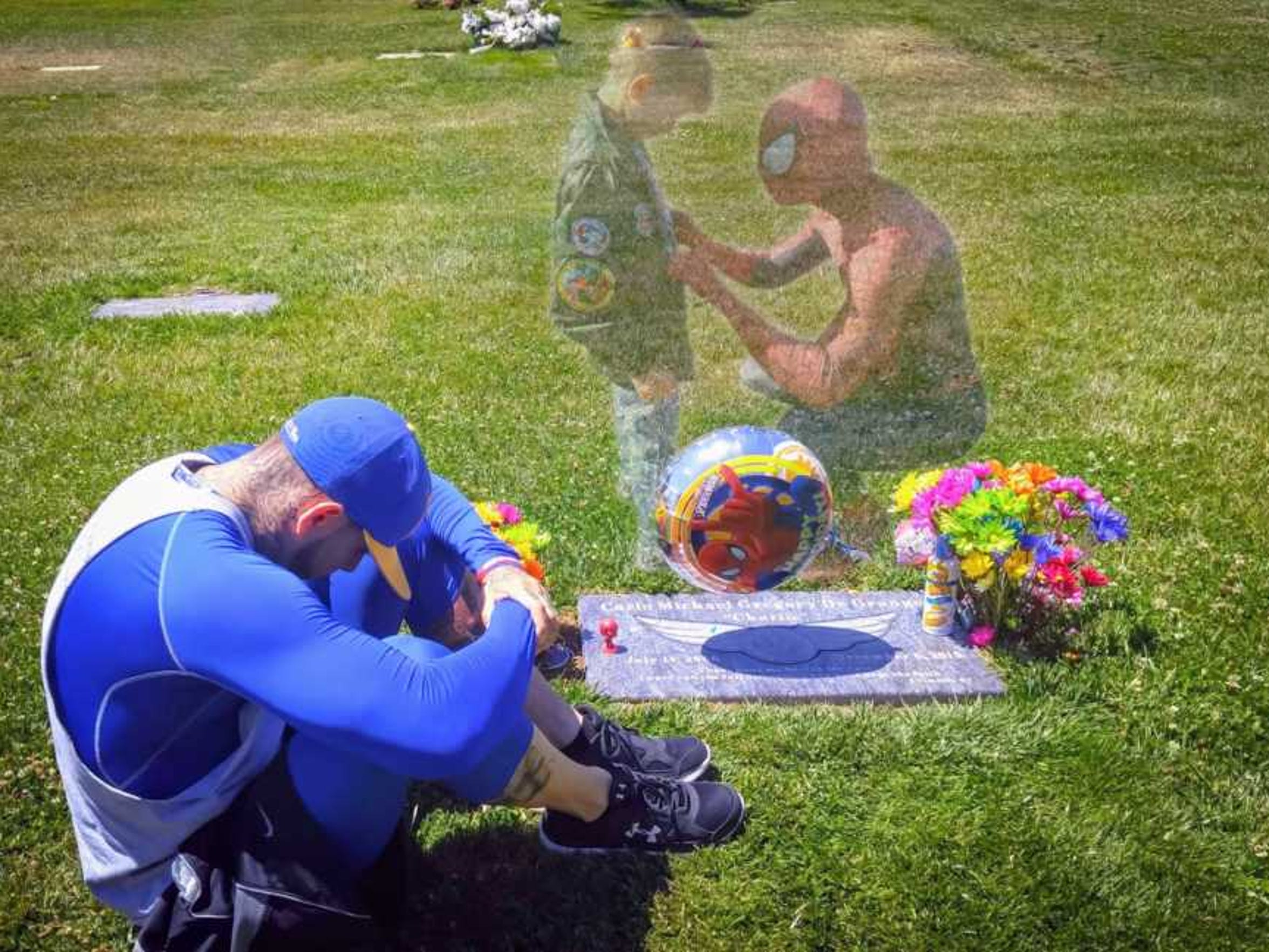 Ricky Mena uses this illustration to depict his emotions while visiting the grave site of a child who passed away.