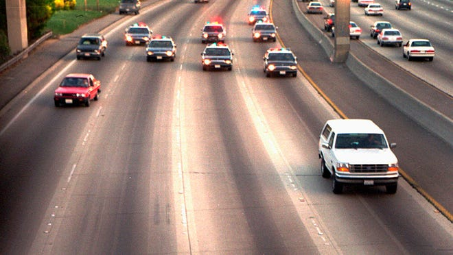 With Al Cowlings driving and O.J. Simpson in the backseat, the infamous Ford Bronco makes it way down the highway on June 17, 2014.