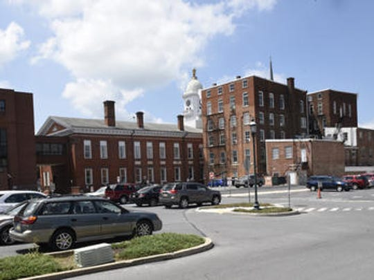 The rear of the Franklin County Courthouse complex in downtown Chambersburg.