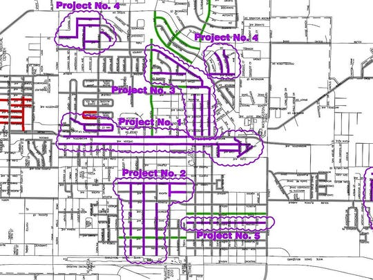 This map shows the areas of approved roadwork that the City of Alamogordo will be carrying out over the next five years.
