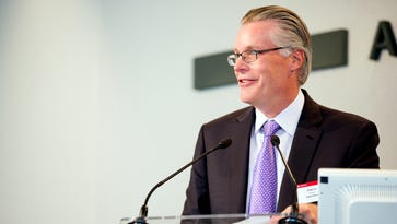 Current Delta Air Lines President Ed Bastian speaks to press at an Airbus event in Toulouse, France, on May 28, 2015. Bastian will become the airline's next CEO in May 2016.