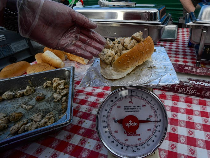 225 chicken spiedies weighing 8oz. were made for the Major League Eating sanctioned spiedie-eating contest held at Tioga Downs on Saturday.