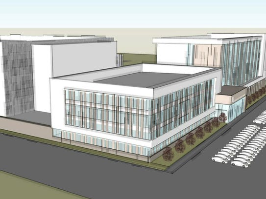 A rendering of the northeast view of the proposed new