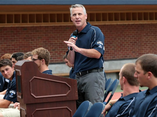 CORRECTS DAY AND DATE - University of Virginia head coach Brian O'Connor addresses the crowd during a celebration for the Virginia Baseball team after their trip to the College World Series Thursday night June 26, 2014, at Davenport Field in Charlottesville, Va.    (AP Photo/The Daily Progress, Andrew Shurtleff )