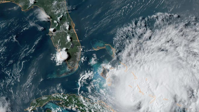 Hurricane Isaias approaches Florida in this satellitel image from NOAA.
