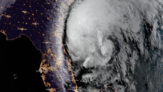 Tropical Storm Isaias crawls past Volusia County in this Monday morning satellite image from NOAA.